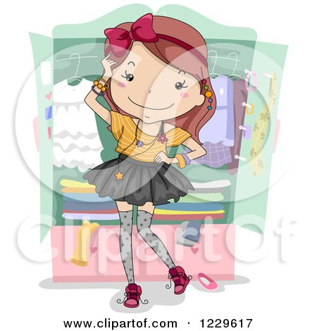 Clipart of a Fashionable Teen Girl by a Wadrobe - Royalty Free Vector Illustration by BNP Design Studio