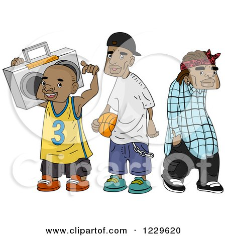 Clipart of African American Teenagers - Royalty Free Vector Illustration by BNP Design Studio