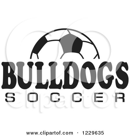 Clipart of a Black and White Ball and BULLDOGS SOCCER Team Text - Royalty Free Vector Illustration by Johnny Sajem
