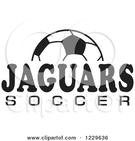 Clipart of a Black and White Ball and JAGUARS SOCCER Team Text - Royalty Free Vector Illustration by Johnny Sajem