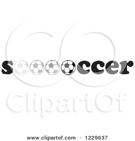 Clipart of a Grayscale Rolling Ball in the Word SOCCER - Royalty Free Vector Illustration by Johnny Sajem
