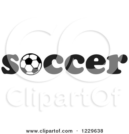 Clipart of a Black and White Ball in the Word SOCCER - Royalty Free Vector Illustration by Johnny Sajem