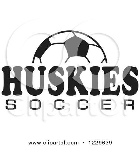 Clipart of a Black and White Ball and HUSKIES SOCCER Team Text - Royalty Free Vector Illustration by Johnny Sajem