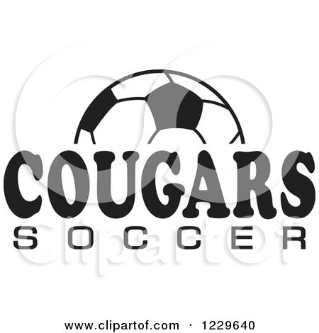 Clipart of a Black and White Ball and COUGARS SOCCER Team Text - Royalty Free Vector Illustration by Johnny Sajem