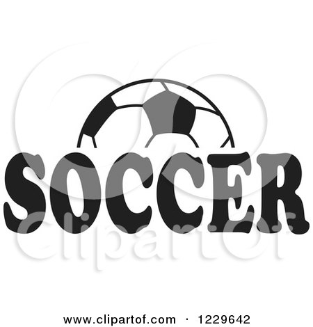 Clipart of a Black and White Ball and SOCCER Text - Royalty Free Vector Illustration by Johnny Sajem