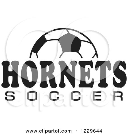 Clipart of a Black and White Ball and HORNETS SOCCER Team Text - Royalty Free Vector Illustration by Johnny Sajem