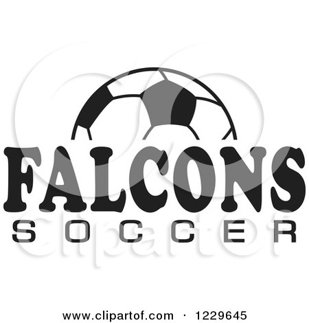 Clipart of a Black and White Ball and FALCONS SOCCER Team Text - Royalty Free Vector Illustration by Johnny Sajem
