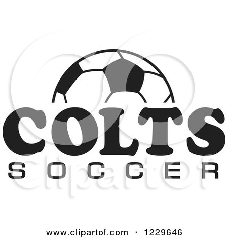 Clipart of a Black and White Ball and COLTS SOCCER Team Text - Royalty Free Vector Illustration by Johnny Sajem