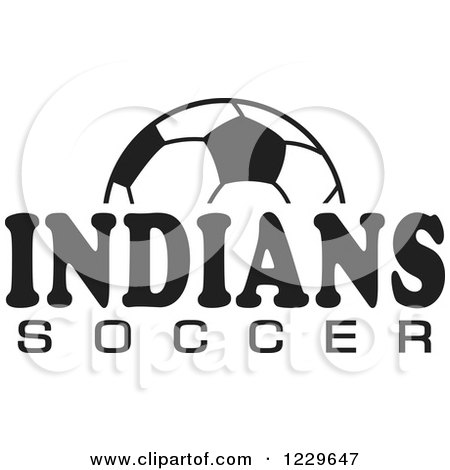Clipart of a Black and White Ball and INDIANS SOCCER Team Text - Royalty Free Vector Illustration by Johnny Sajem