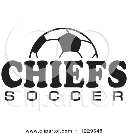 Clipart of a Black and White Ball and CHIEFS SOCCER Team Text - Royalty Free Vector Illustration by Johnny Sajem
