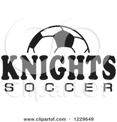 Clipart of a Black and White Ball and KNIGHTS SOCCER Team