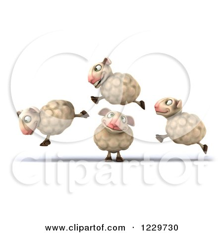 Clipart of a 3d Happy Sheep Jumping over One - Royalty Free Illustration by Julos