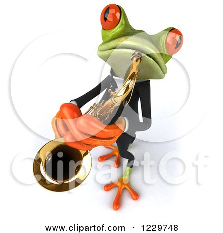 Clipart of a 3d Green Springer Frog Playing a Saxophone in a Suit 5 - Royalty Free Illustration by Julos