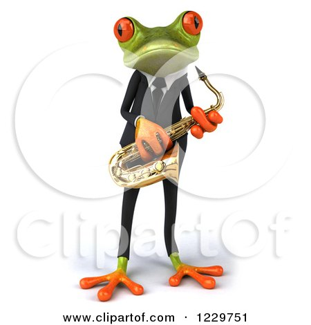 Clipart of a 3d Green Springer Frog Playing a Saxophone in a Suit 2 - Royalty Free Illustration by Julos