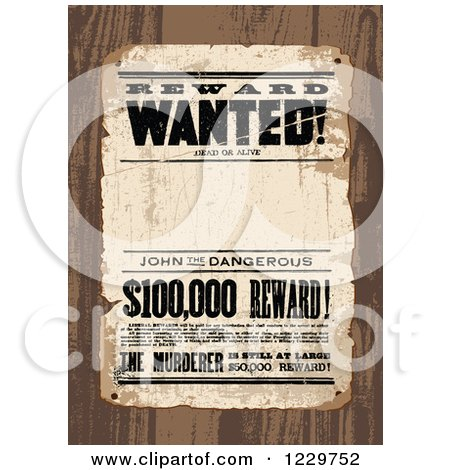 Clipart of a Distressed Wanted Reward Sign over Wood - Royalty Free Vector Illustration by BestVector