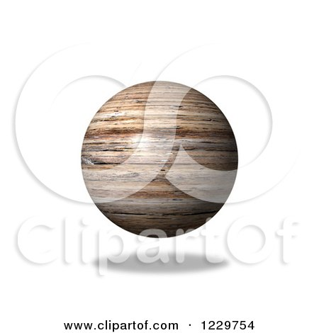 Clipart of a 3d Floating Wooden Globe - Royalty Free Illustration by oboy