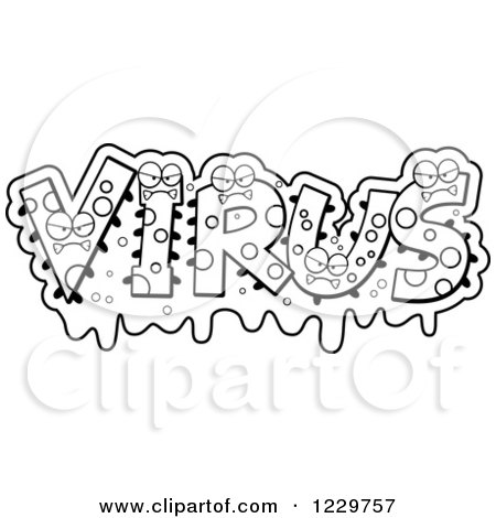 Clipart of Black and White Snotty Monsters Forming the Word Virus - Royalty Free Vector Illustration by Cory Thoman