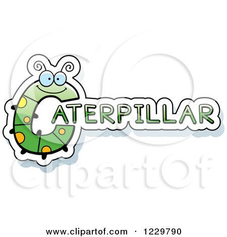 Clipart of a Letter C Bug Forming the Word CATERPILLAR - Royalty Free Vector Illustration by Cory Thoman
