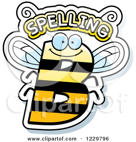 Clipart of a Letter B Bee with Spelling Text - Royalty Free Vector Illustration by Cory Thoman