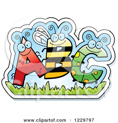 Clipart of Ant Bee and Caterpillar Bug Letters ABC - Royalty Free Vector Illustration by Cory Thoman
