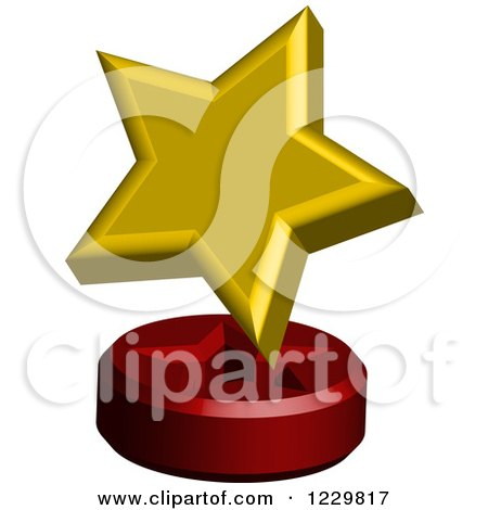 Clipart of a 3d Golden Star on a Stand - Royalty Free Vector Illustration by Cherie Reve
