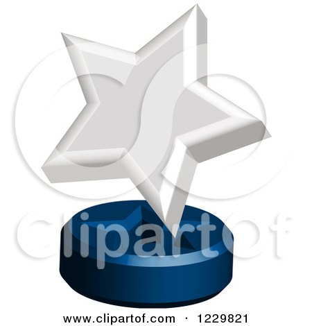 Clipart of a 3d White Star Award on a Stand - Royalty Free Vector Illustration by Cherie Reve