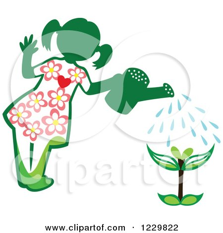 Clipart of a Green Girl Watering a Seedling Plant - Royalty Free Vector Illustration by Cherie Reve
