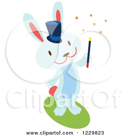 Clipart of a Blue Magician Bunny Rabbit - Royalty Free Vector Illustration by Cherie Reve