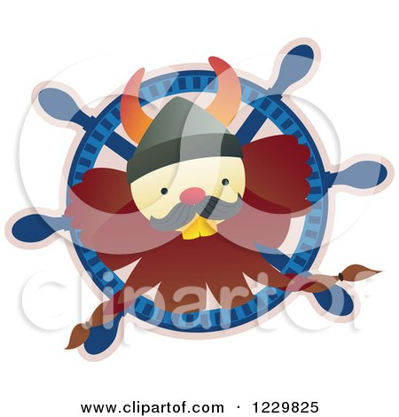 Clipart of a Happy Viking Man in a Ships Helm - Royalty Free Vector Illustration by Cherie Reve