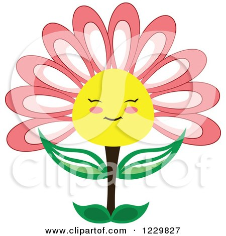 Clipart of a Happy Pink and Yellow Flower - Royalty Free Vector Illustration by Cherie Reve