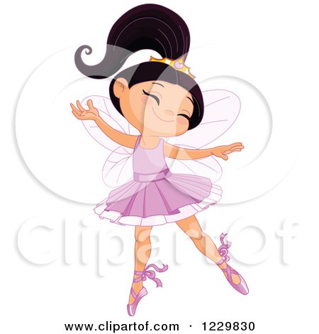 Clipart of a Happy Ballerina Princess Girl Dancing - Royalty Free Vector Illustration by Pushkin