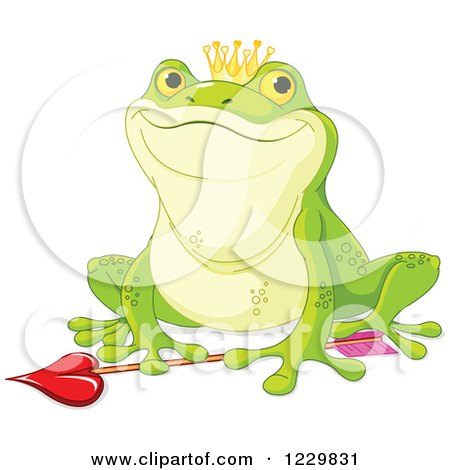 Clipart of a Happy Frog Prince over Cupids Arrow - Royalty Free Vector Illustration by Pushkin
