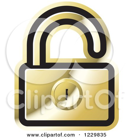 Clipart of a Gold Open Padlock Icon - Royalty Free Vector Illustration by Lal Perera