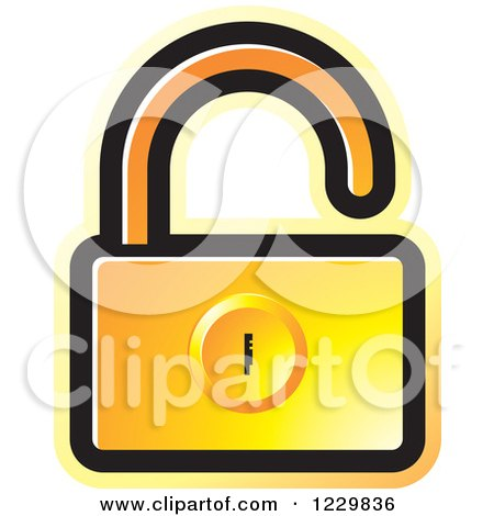 Clipart of a Gradient Orange Open Padlock Icon - Royalty Free Vector Illustration by Lal Perera