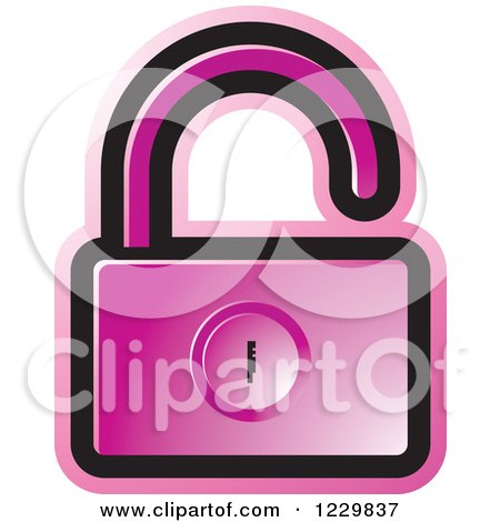 Clipart of a Pink Open Padlock Icon - Royalty Free Vector Illustration by Lal Perera