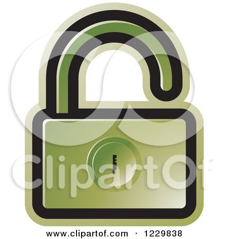 Clipart of a Green Open Padlock Icon - Royalty Free Vector Illustration by Lal Perera