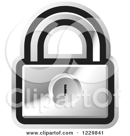 Clipart of a Silver Padlock Icon - Royalty Free Vector Illustration by Lal Perera
