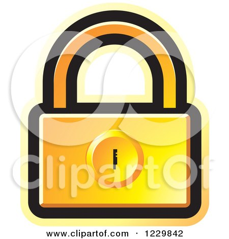 Clipart of a Yellow Padlock Icon - Royalty Free Vector Illustration by Lal Perera