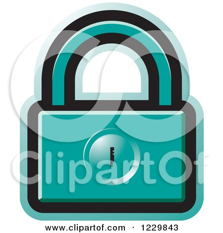 Clipart of a Turquoise Padlock Icon - Royalty Free Vector Illustration by Lal Perera