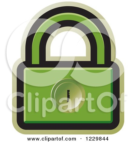 Clipart of a Green Padlock Icon - Royalty Free Vector Illustration by Lal Perera