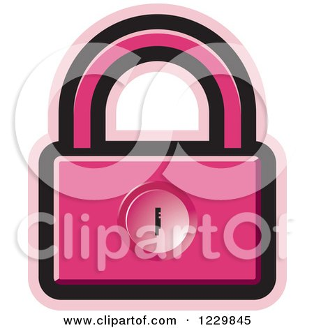 Clipart of a Pink Padlock Icon - Royalty Free Vector Illustration by Lal Perera