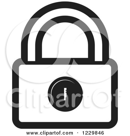 Clipart of a Black and White Padlock Icon - Royalty Free Vector Illustration by Lal Perera