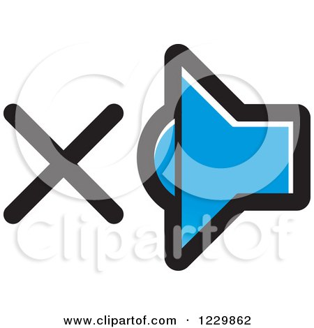 Clipart of a Blue Mute Speaker Icon - Royalty Free Vector Illustration by Lal Perera