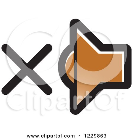 Clipart of a Brown Mute Speaker Icon - Royalty Free Vector Illustration by Lal Perera