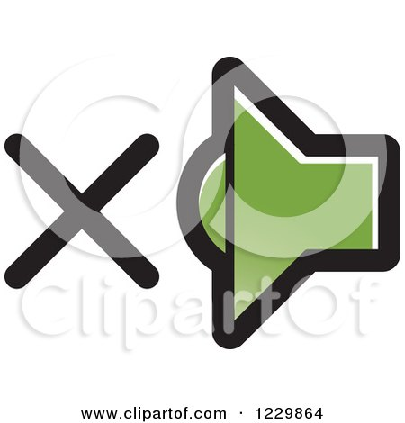 Clipart of a Green Mute Speaker Icon - Royalty Free Vector Illustration by Lal Perera