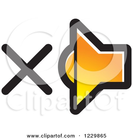 Clipart of a Gradient Orange Mute Speaker Icon - Royalty Free Vector Illustration by Lal Perera