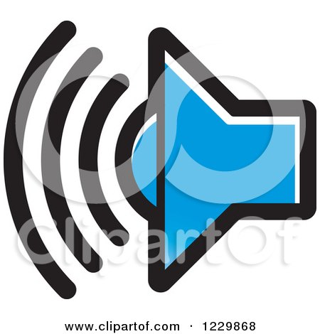 Clipart of a Blue Speaker Icon - Royalty Free Vector Illustration by Lal Perera