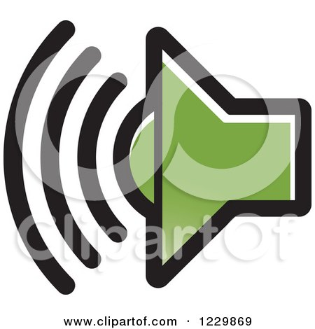 Clipart of a Green Speaker Icon - Royalty Free Vector Illustration by Lal Perera