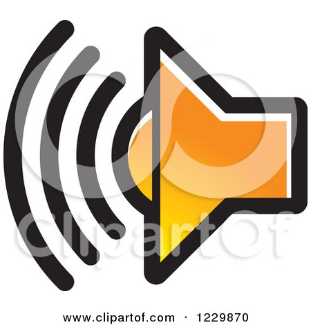 Clipart of a Gradient Orange Speaker Icon - Royalty Free Vector Illustration by Lal Perera