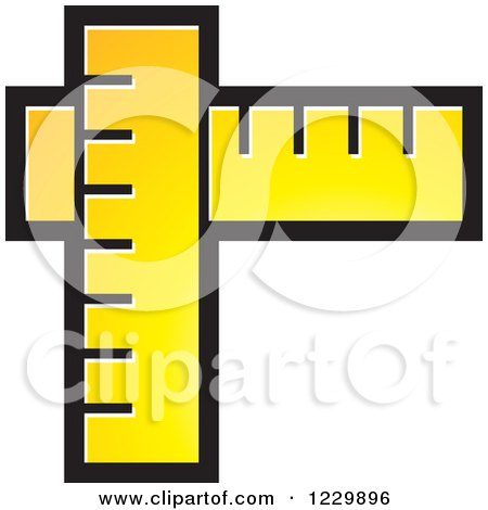 Clipart of a Yellow Rulers Icon - Royalty Free Vector Illustration by Lal Perera